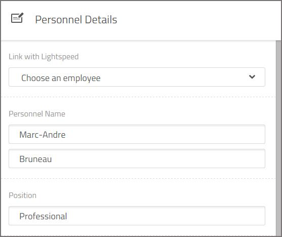 personnel details lightspeed