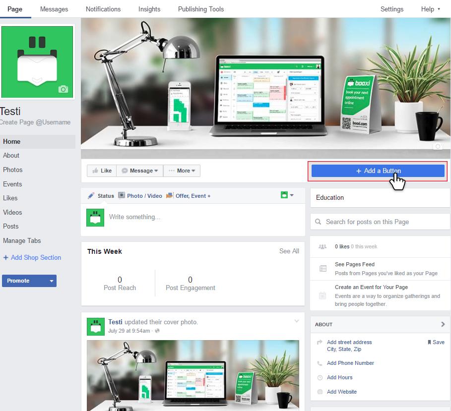 Facebook Online booking