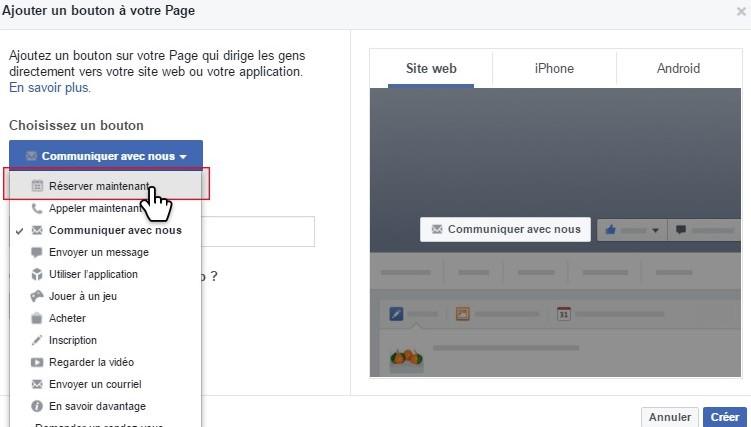 Facebook Bouton réserver
