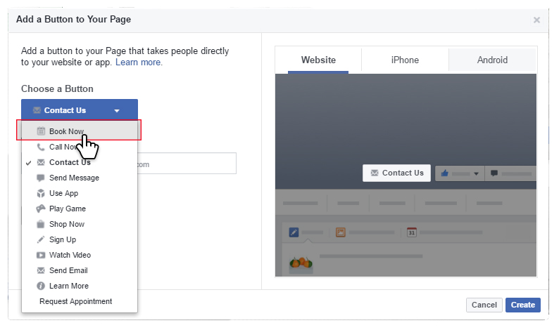 add online appointment booking to your Facebook page