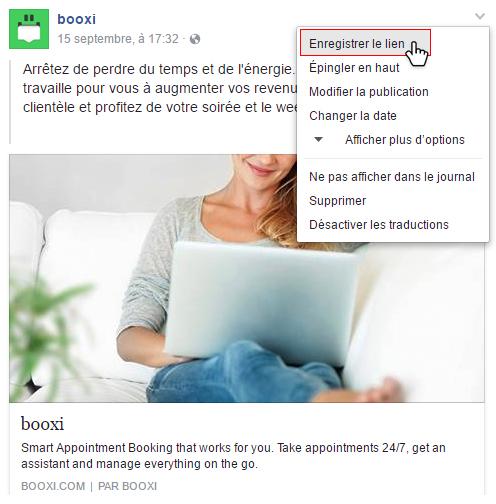 enregistrer un lien sur facebook
