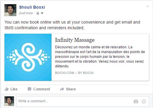 facebook post to get clients to book online
