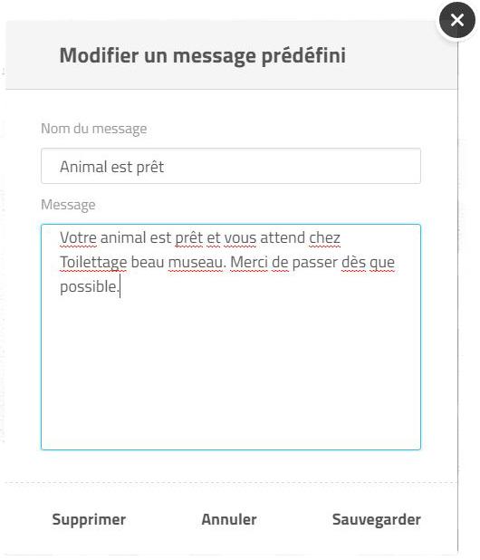 modifier messages prédéfini