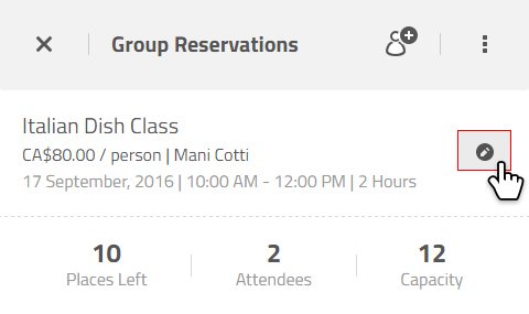 modify group reservations