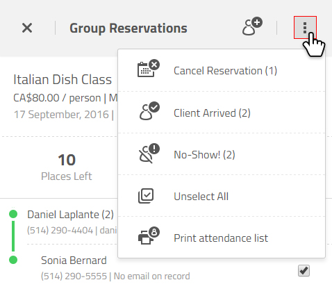 group reservations status