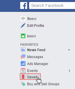 find a saved link on facebook