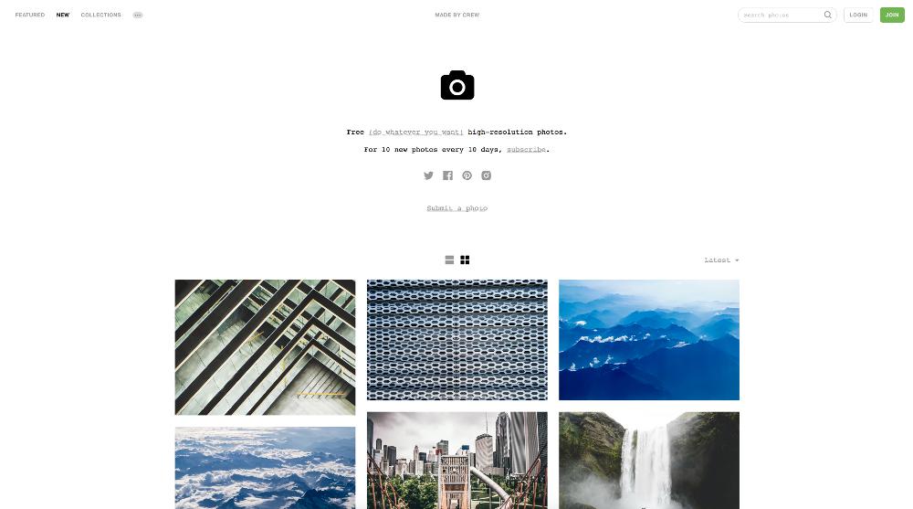 site web Unsplash